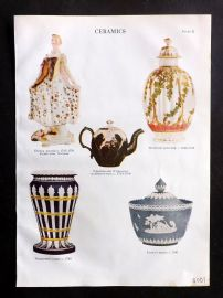 Encyclopaedia Britannica 1911 Antique Print. Ceramics. Wedgewood, Turner's